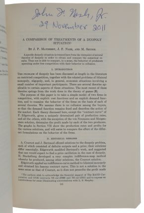 'Two-person cooperative games,' pp. 128-140 in: Econometrica, Vol. 21, No. 1, January 1953.