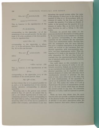 Can Quantum-Mechanical Description of Physical Reality Be Considered Complete? Offprint from Physical Review, vol. 47, no. 10, May 15, 1935.