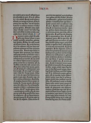 A single paper leaf from the Gutenberg Bible, containing Kings 1, 19 and 20. [Mounted in:] A...