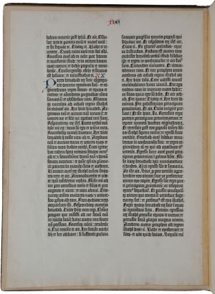 A single paper leaf from the Gutenberg Bible, containing Kings 1, 19 and 20. [Mounted in:] A Noble Fragment: being a Leaf of the Gutenberg Bible, 1450-1455, with a Bibliographical Essay by A. Edward Newton [designed by Bruce Rogers and printed by William Edwin Rudge]. New York: Gabriel Wells, 1973.