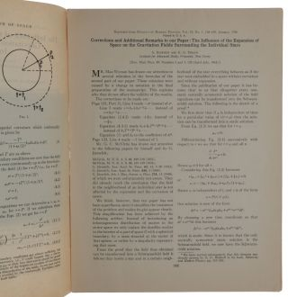 The Influence of the Expansion of Space on the Gravitation Fields Surrounding the Individual Stars. WITH: Corrections and Additional Remarks to Our Paper … Offprints from: Reviews of Modern Physics, vols. 17, no. 2/3, April-June, 1945 & vol. 18, no. 1, January-March, 1946.