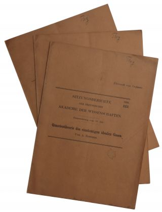 Offprints of Einstein's three papers on Bose-Einstein statistics: (1) Quantentheorie des...