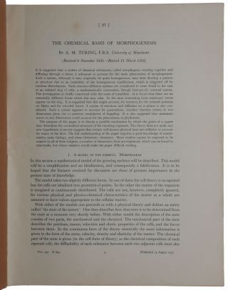 The chemical basis of morphogenesis. Offprint from: Philosophical Transactions of the Royal...