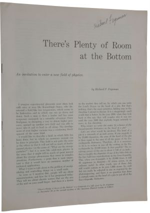 There's Plenty of Room at the Bottom. An invitation to enter a new field of physics. Offprint...