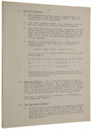 """A Mathematical Theory of Communication. Offprint from Bell System Technical Journal, Vol. 27 (July and October). [With:] Notes for """"Communication in the Presence of Noise"""" (Lecture 4, AIEE-IRE series, April 25, 1949). Mimeograph typescript."""