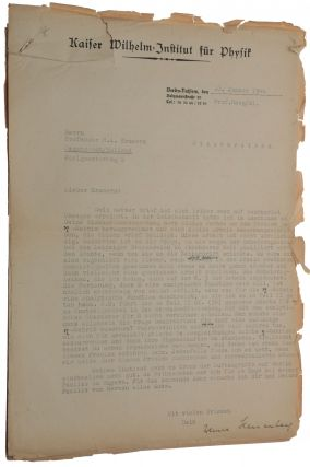 (1) Typed letter in German signed to H. A. Kramers, one page, on letterhead of the Kaiser Wilhelm-Institut für Physik. Berlin, 10 January 1944. Stapled to (2) HEISENBERG. Die beobachtbaren Grössen in der Theorie der Elementarteilchen III. Typed manuscript with his autograph additions and corrections, 23 pages, undated.