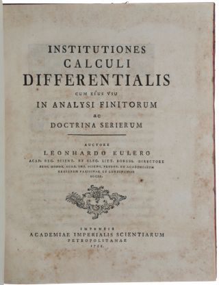 Institutiones Calculi Differentialis cum eius usu in Analysi Finitorum ac Doctrina Serierum.