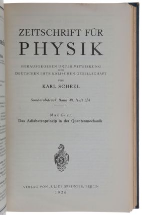 Bound volume of 25 offprints, including the four papers in which Born introduced the probability (or Copenhagen) interpretation of quantum mechanics (1926), two giving Heisenberg's explanation of the anomalous Zeeman effect on the basis of the Bohr-Sommerfeld quantum theory (1924/5), and two more by Heisenberg giving his solution of the Helium problem by means of his new quantum mechanics (1926/7).